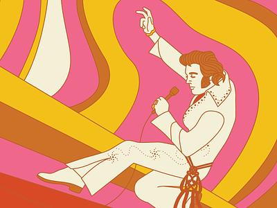 Elvis Birthday 2021 groovy 1970s elvis presley elvis retro vector illustration