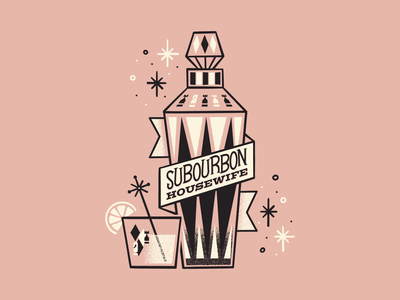 SuBourbon Housewife cocktails bar vintage inspired whiskey bourbon design retro vector illustration