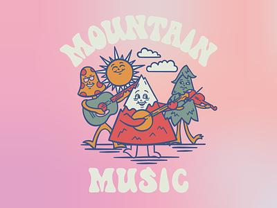 Mountain Music groovy bluegrass country music appalachian appalachia mountains lettering retro illustration