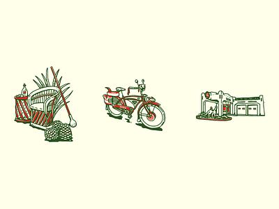 Tequila! petroliana sinclair bike plants agave tequila vintage inspired design retro vector illustration