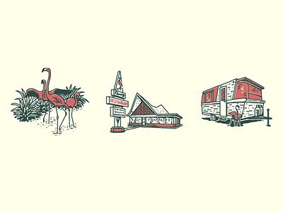 Flamingos kitsch camper flamingo flamingos midcentury retro design vector illustration