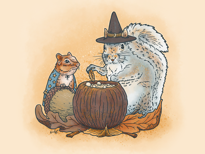 Sisters of the Moon witch halloween cute chipmunk squirrel animals nature illustration