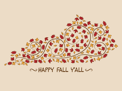 Happy Fall Y'all tees t-shirt leaves autumn fall vector kentucky
