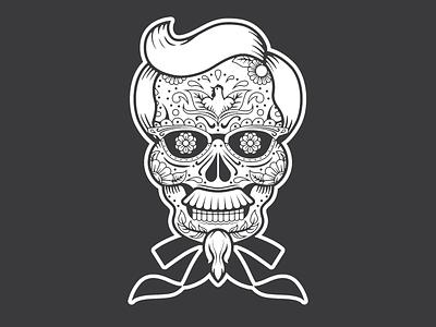 Colonel Sanders Sugar Skull halloween spooky creepy skull sugar skull colonel sanders autumn fall vector kentucky
