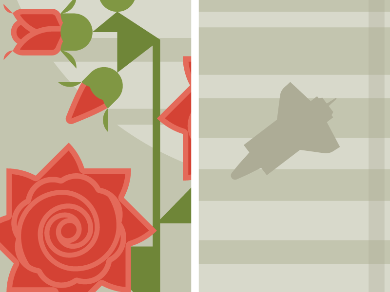 Flowers & Shuttles: Rose flat illustration nasa shuttle floral flowers vector