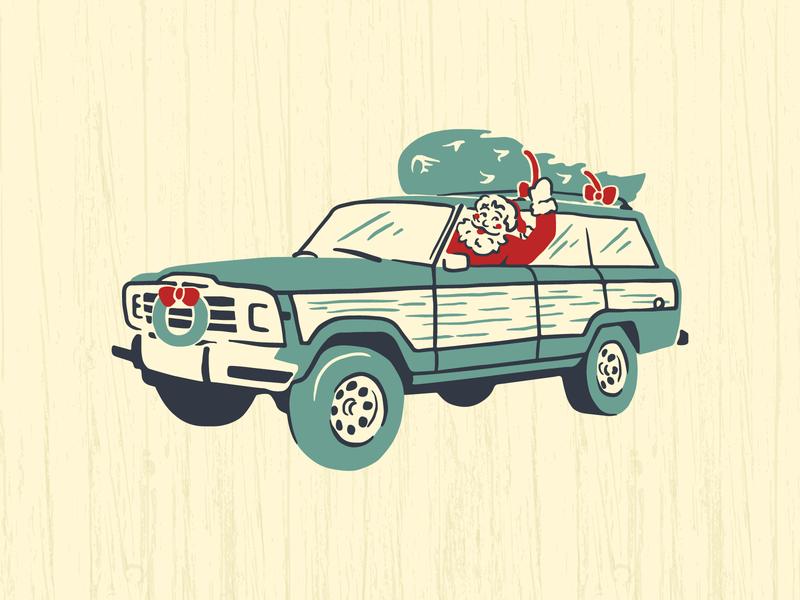 Santa's Jeep holidays retro vintage wagoneer jeep santa claus santa christmas illustration