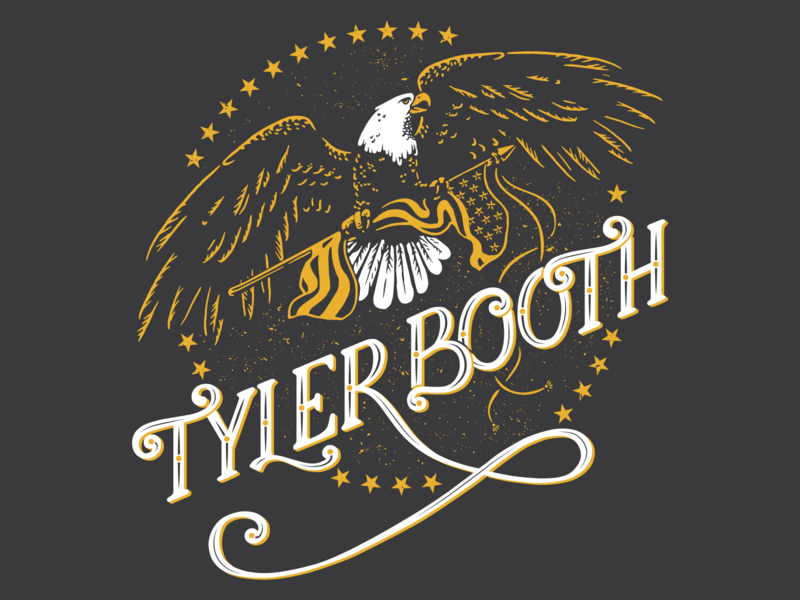 Tyler Booth Tee americana bald eagle eagle america country music vector lettering design illustration