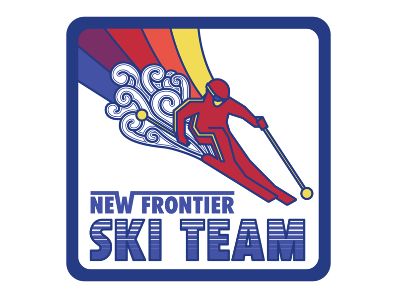 New Frontier Ski Team design retro badge badge winter snow ski skiing retro vector
