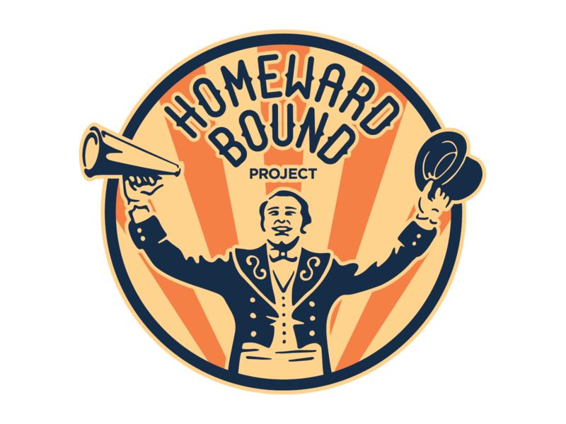 Homeward Bound Project retro illustration ringmaster vector logo