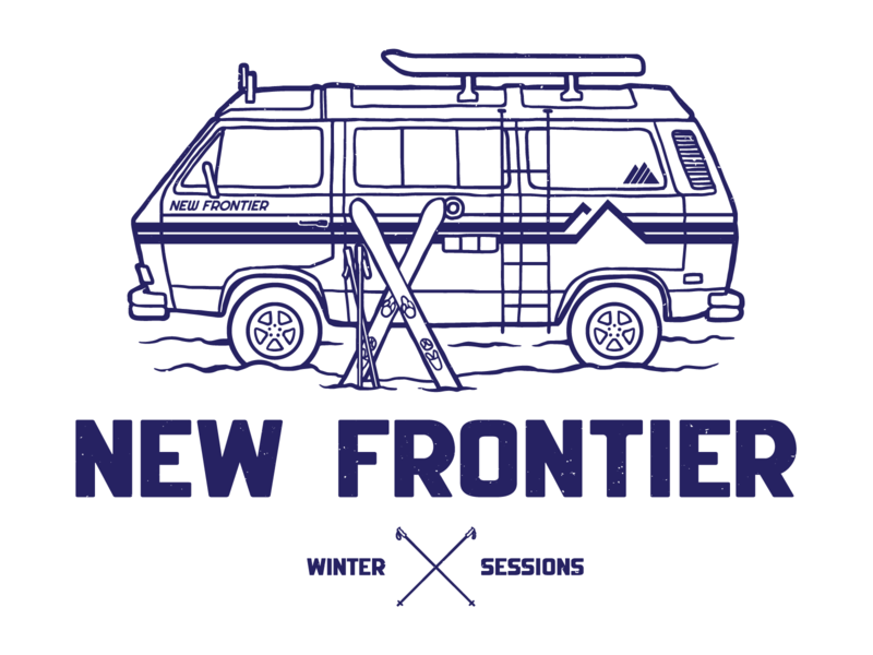 Winter Sessions 19 vehicles winter skiing van volkswagon retro illustration