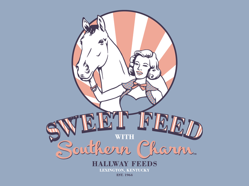 Hallway Sweet Feed woman retro horse design kentucky illustration vector