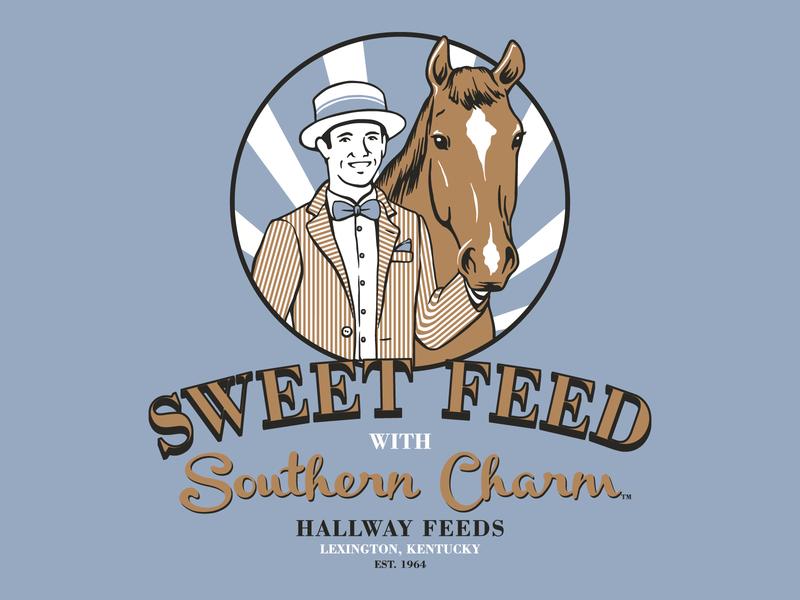 Hallway Sweet Feed 2 man horse design retro kentucky illustration vector