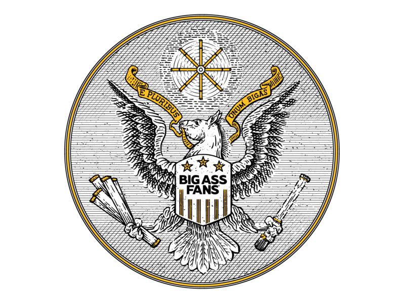 Big Ass Fans Seal lineart seal engraving design illustration