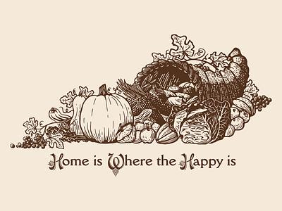 Kentucky Cornucopia autumn fall thanksgiving day food plants harvest cornucopia thanksgiving illustration kentucky