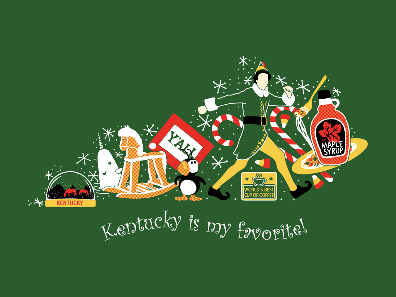 Kentucky is My Favorite holidays winter holiday elf christmas kentucky illustration