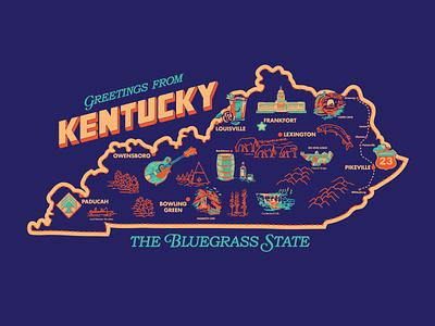 Vintage Kentucky Map design travel vintage map bourbon retro kentucky illustration
