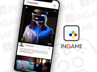InGame Social Media Gamers app logo branding interface ux ui creative design