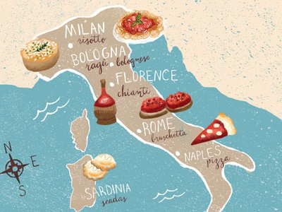 Italian Food Map By Region By Esther Loopstra On Dribbble