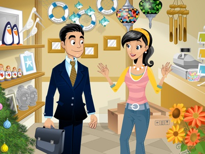 Sales representative - Gift Shop e-learning flash animation cartoon