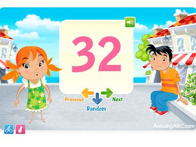 AmusingABC - Numbers flash animation cartoon illustration game app ipad