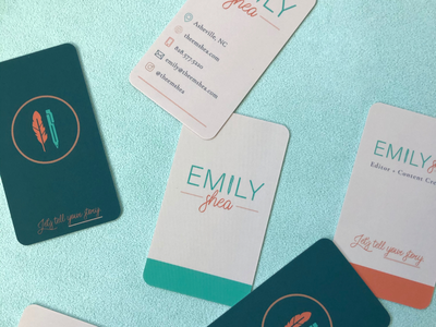 Business Cards for an Editor illustration pen feather custom branding logo asheville editing editor business