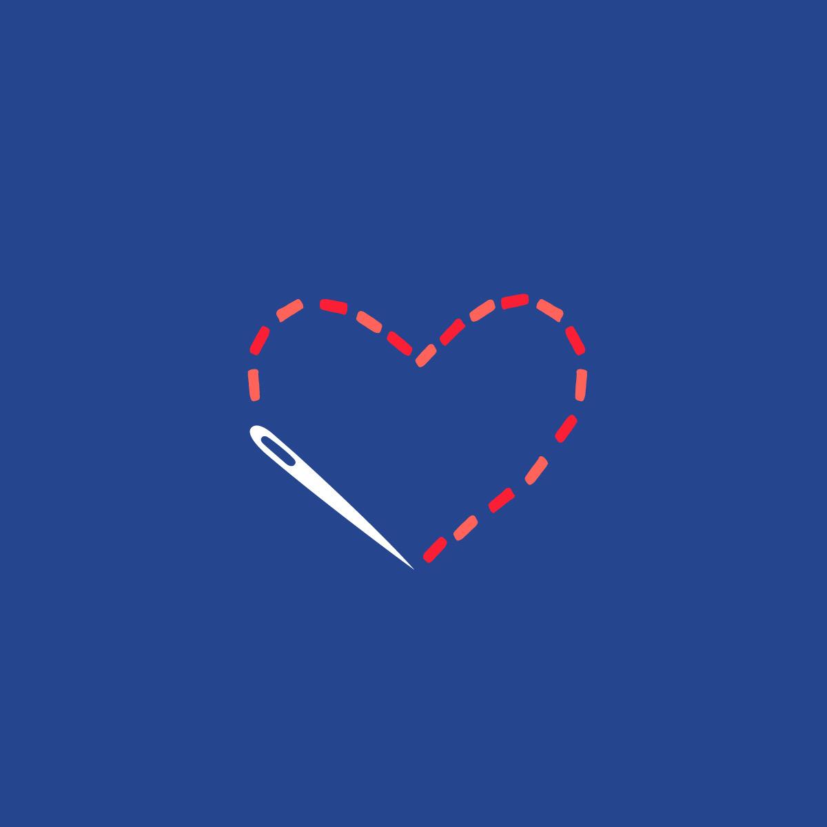 Masks of Love WNC Brand Icon identity iconography submark needle logo sew sewing heart mask medical masks asheville