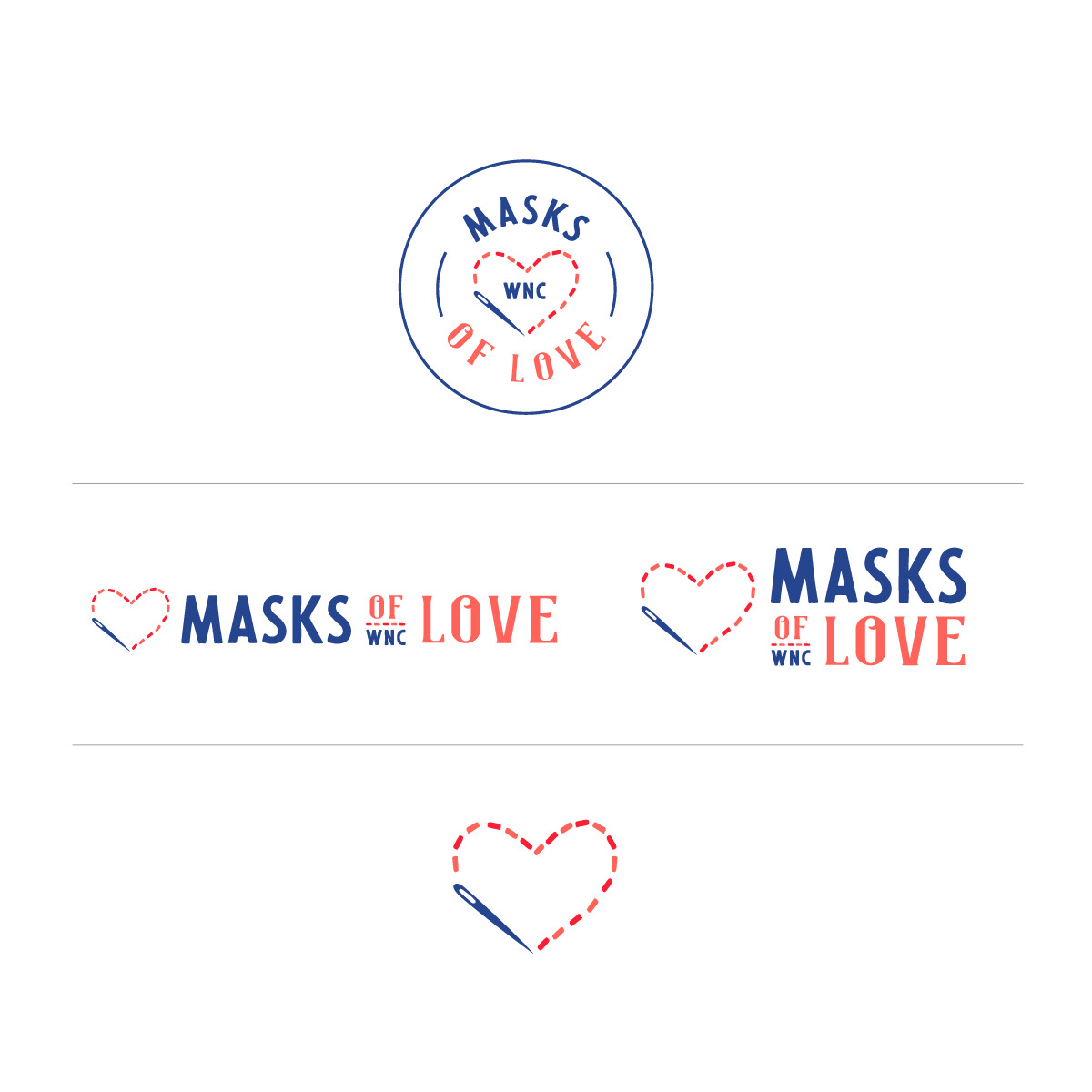 Non-profit Logo Collection submark icons covid medical needle heart typography logo lettering type masks