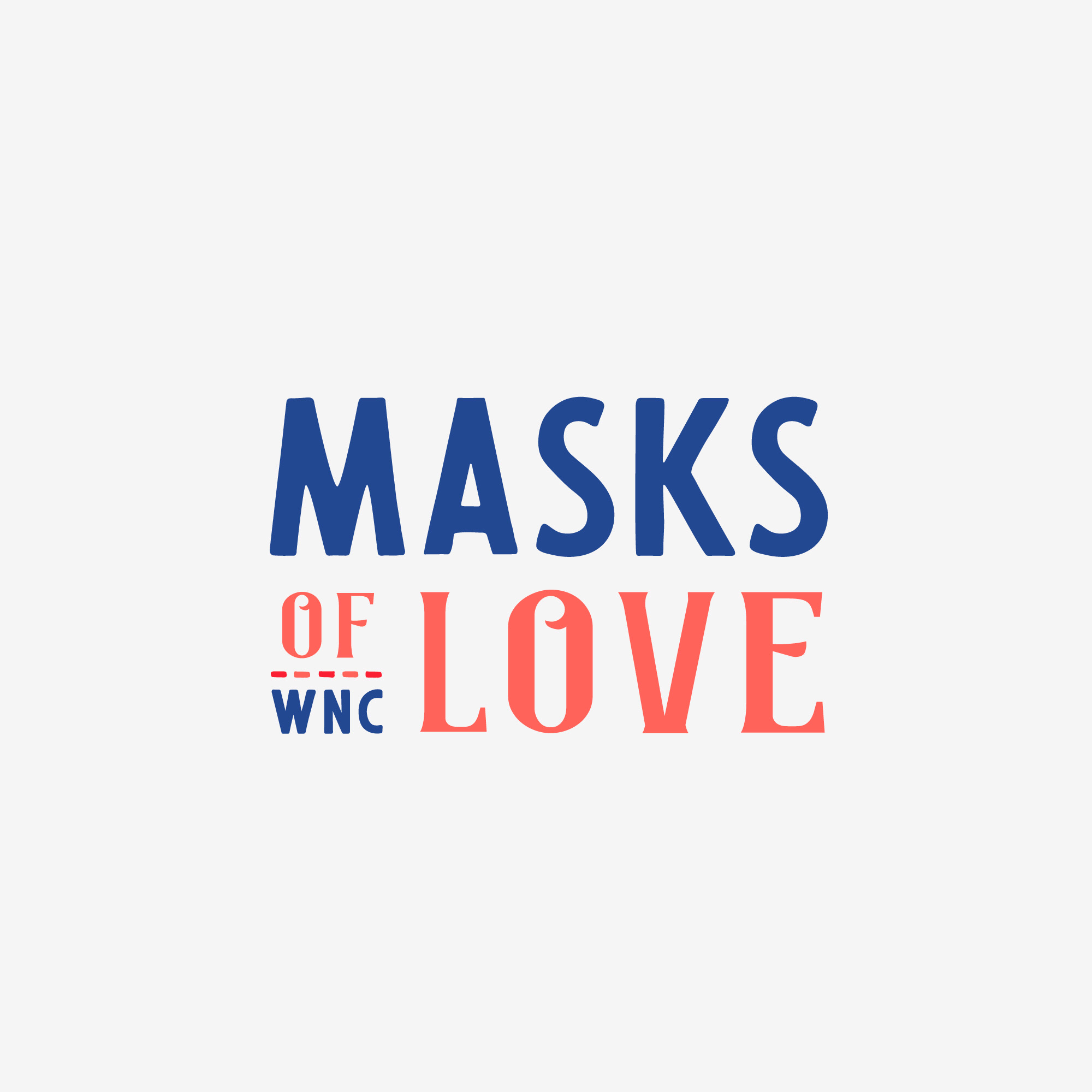 None-profit Logo donation relief covid medical mask wnc love custom logos asheville lettering logo masks