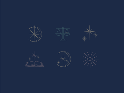 Icon set for Asheville Lawyer icon law scales d stars book eye crescent moon asheville designer lawyer icons