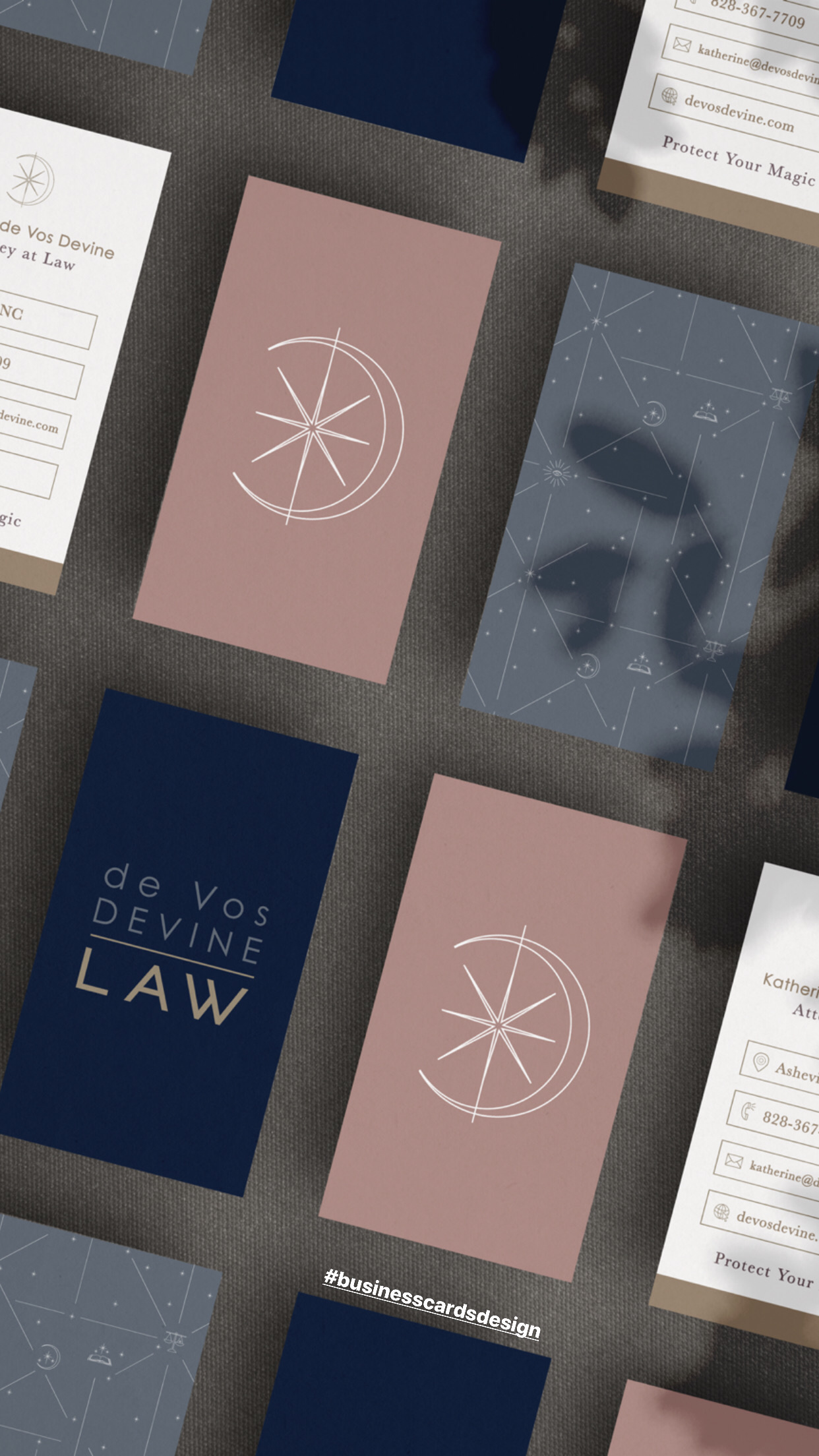 Business Card Set for Asheville Lawyer business cards quarantine identity pattern iconography law moo nc asheville lawyer cards business