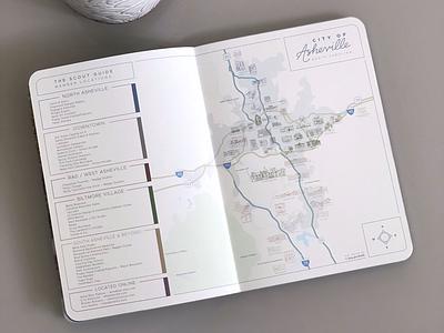 Custom Asheville Map Design map designer iconography icons asheville illustration custom map design map