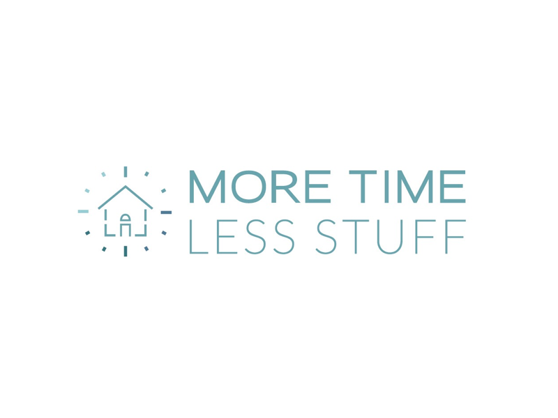 More Time Less Stuff Logo Design branding logo identity iconography house clock time organize organized home