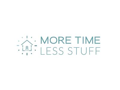 More Time Less Stuff Logo Design branding logo identity iconography house clock time organize organized home