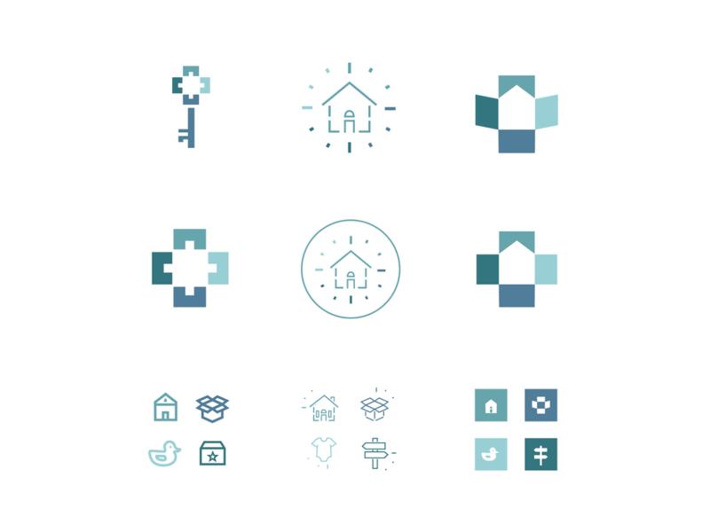 Client Logo Options submark icon clock cross moving box baby icons iconography identity organization home logo