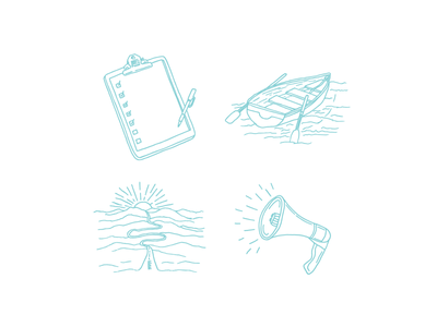 Book Illustrations iconography icons doodles pen chapters drawing illustration boat sunset megaphone notebook