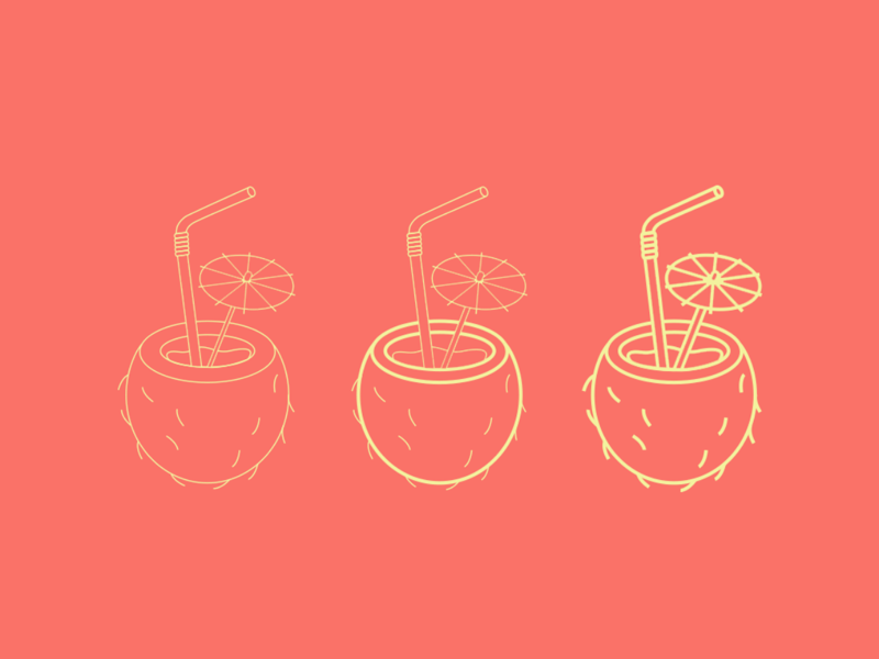 Sweet summertime iconography coconut straw drink pina colada palette colors icon design icons living coral coral