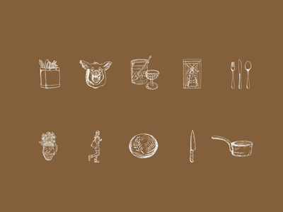 Custom Icon Collection pan illustration glass knife flowers bread silverware boar private cooking barn farm iconography icons