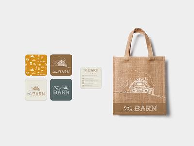 The Barn Branding logo illustration handdrawn barn business cards cards bag design branding brand