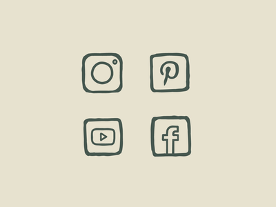 Hand-drawn Social Icon Set handdrawn drawing illustration icon icons iconography brand branding pinterest youtube facebook instagram social