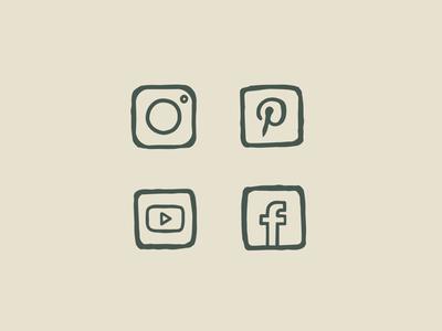 Hand-drawn Social Icon Set