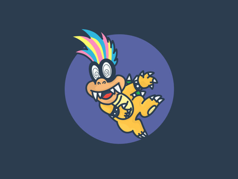 Iggy's (Koopa) physiognomy in the 1990s. Nintendo. new 2d design cartoon art character dribbble illustration vector adobe super bowl nintendo game mario bros super mario world super mario bros super mario