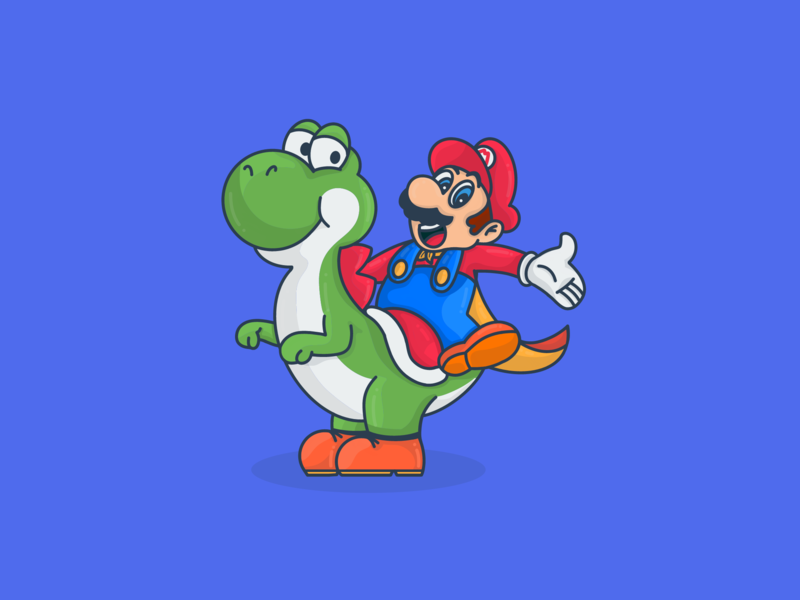 Mario and Yoshi's physiognomy in the 1990s. Nintendo. 2d new cartoon art character dribbble illustration vector adobe design super mario games nintendo mariobros mario yoshi mario and yoshi super mario world follow follow me