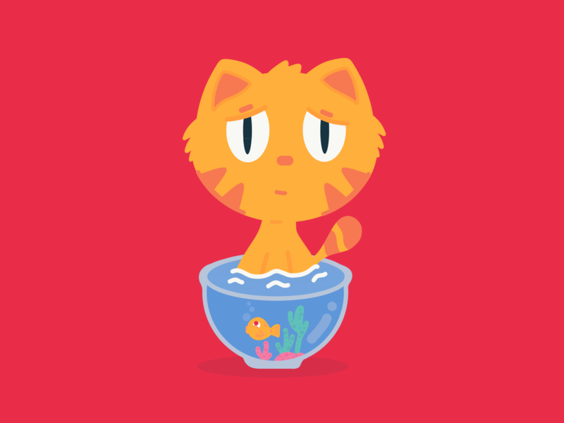 Wet Kitten / Leopoldo cs color banana animation brazil art 2d ai new design cartoon character dribbble illustration vector adobe cat kitten wet