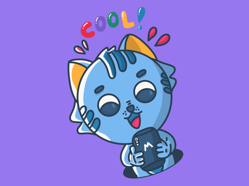 Technological kitten. Very cool! / Leopoldo color novo animation brazil art design cartoon character dribbble illustration vector adobe cats kittens tech cat kitten