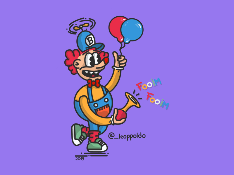 El payaso justiciero / Leopoldo payaso ui arte logotipo personagem vetor adobe dribbble