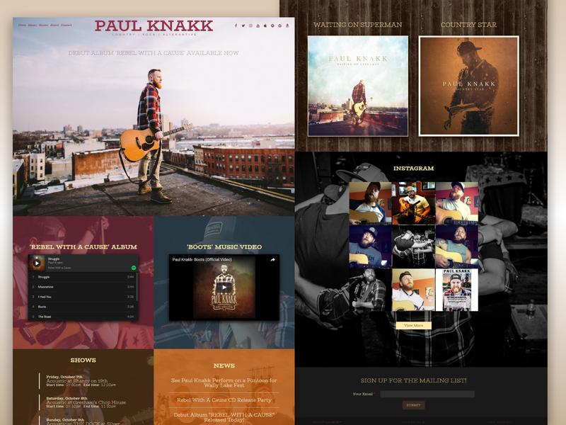 Paul Knakk - Country Musician Website drupal development photography graphic design web
