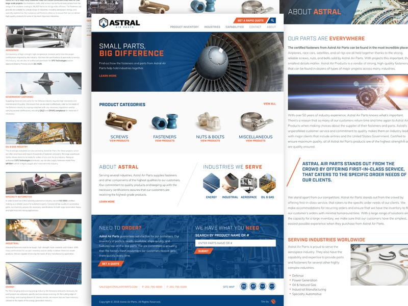 Astral Air Parts Website wordpress development web