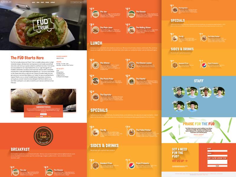 Fudtruk Website branding logo vibrant colors graphic photography design website food truck