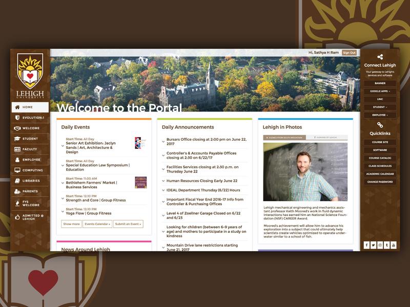 Lehigh Portal hub student portal collegiate brown university graphic development design web