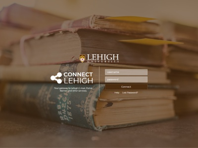 Connect Lehigh photography typography graphic screen login flexbox design web